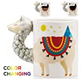Color Changing Llama Mug - 3D Ceramic Lama Coffee Mugs. Novelty Alpaca llama Presents. Perfect for Holiday or Birthdays for Llama lovers. Great Kitchen, Office or Bedroom Decor. A Great Cup of Tea