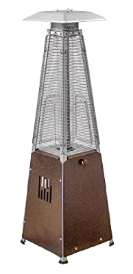 Hiland HLDS032-GTTHG Portable Propane Table Top Pyramid Glass Tube Patio Heater, 9500 BTU, Bronze