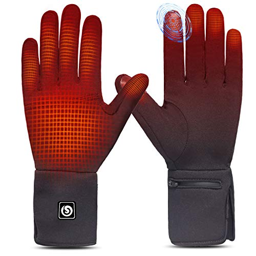 Heated Glove Liners for Men Women, Rechargeable Battery Electric Heated Gloves, Winter Warm Glove Liners for Arthritis Raynaud, Thin Gloves Riding Ski Snowboarding Hiking Cycling Hand Warmers