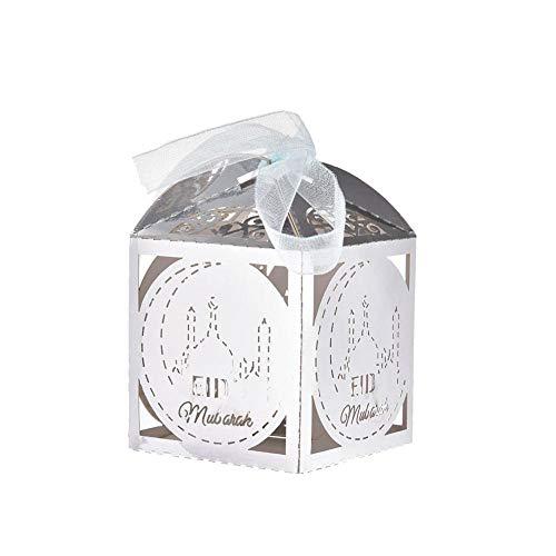 50 stuks gelukkige mubarak-box voor snoepjes, van papier, cadeaudozen, islamitisch Ramadan, decoraties, moslim party accessoires.