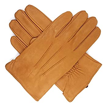 Harssidanzar Mens Luxury Italian Sheepskin Leather Gloves Vintage Finished Cashmere Lined Upgrade Tan M