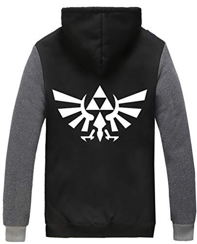 Poetic Walk The Legend of Zelda Cosplay Thicken Jacket Hoodie (XX-Large, Black&Gray)