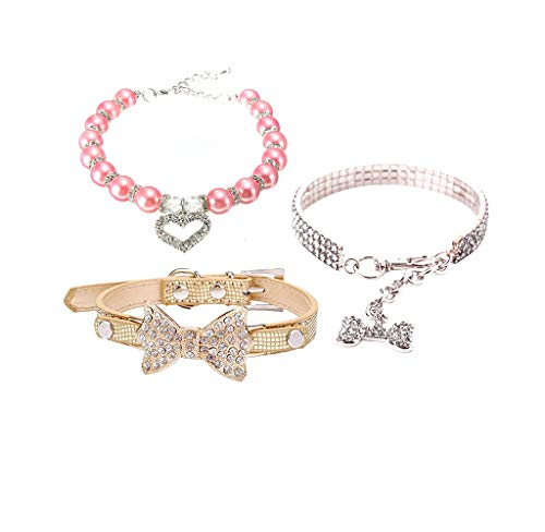 Wakeu Set of 3 Necklace for Small Dog Girl Rhinestone Bling Collars for Pet Puppy Cat (M, A)