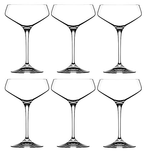 RCR Cristalleria Italiana Aria Collection 6 Piece Crystal Wine Glass Set (Champagne Coupe (11.25 oz))