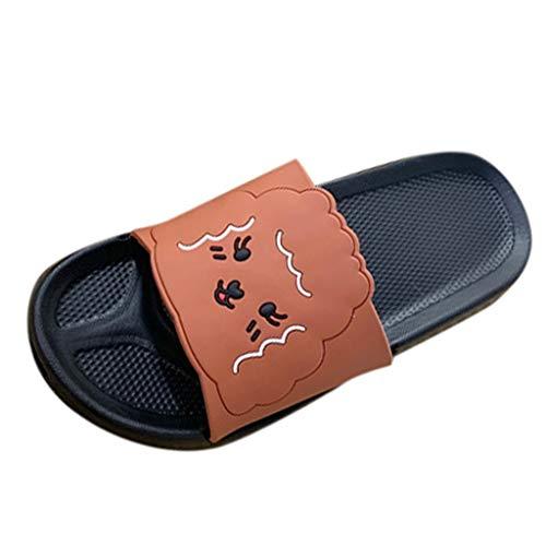 WUSIKY Damen Hausschuhe Unisex Modetrend Niedliche Muster Set Zehen Flip Flops Plus Size Home Hausschuhe Strand Modisch Bequem Sandalen Schwarz 38-39