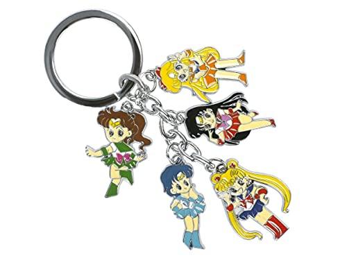 Sailor Moon Schlüsselanhänger mit 5 Chibi Figuren der Sailor Kriegerinnen