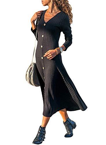 Minetom Vestidos de Suéter para Mujer Moda Cuello V Manga Larga Tejido de Punto Botones Midi Vestido de Cóctel Noche Fiesta Negro ES 42