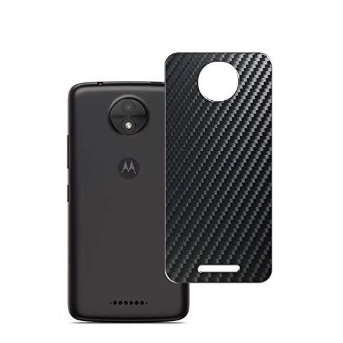 Vaxson 2 Unidades Protector de pantalla Posterior, compatible con Motorola Moto C Plus, Película Protectora Espalda Skin Cover - Fibra de Carbono Negro