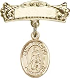 14kt Gold Baby Badge with St. Peregrine Laziosi Charm and Arched Polished Badge Pin St. Peregrine Laziosi is the Patron Saint of Cancer/Running Sores 7/8 X 3/4