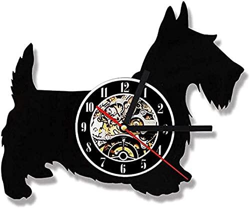 BBZZL Scottie Dog Clock Creative Antique LED Reloj de Vinilo Digital Reloj de Pared 7 variaciones de Color para la decoración del hogar