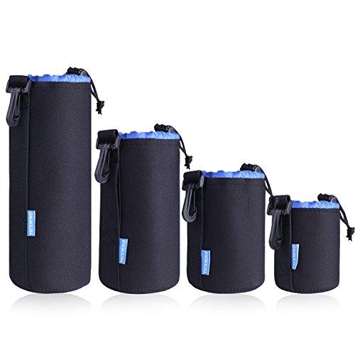Teckmond custodia per obiettivo Set da 4 Sacchetti Lenti protezione interna con blu peluche morbido neoprene borse per fotocamere DSLR Sony, Canon, Nikon, Olympus,Pentax, Panasonic 4 Taglie: S M L XL