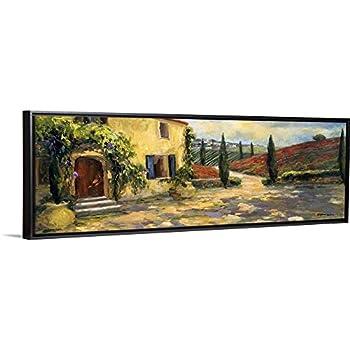 Tuscan Fields Black Float Frame Canvas Art Countryside Artwork
