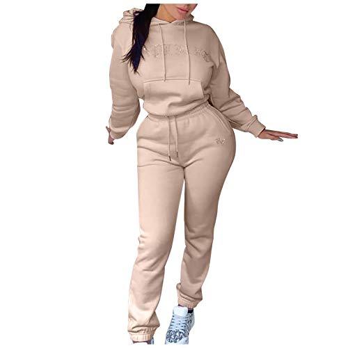 BIBOKAOKE Damen Jogginganzug Kapuzenpullover warm gefütterte Mode Pullover Lange Hose Hausanzug Trainingsanzug Freizeitanzug für Herbst Winter Fitness Laufen