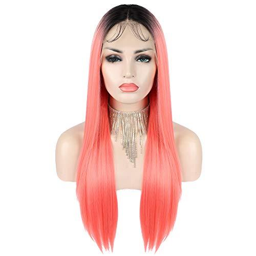 """Kalyss Ombre Pink Lace Front Perücken für Frauen Deep 6 """"Middle Lace Parting 26 Zoll lange seidig gerade natürlich aussehende synthetische Spitze Frontal Perücken"""