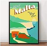 Sur de Europa Mediterráneo Malta Valletta viajes arte de la pared póster impresiones lienzo pintura decoración de la sala de estar del hogar (50X75Cm) -20x30 pulgadas sin marco