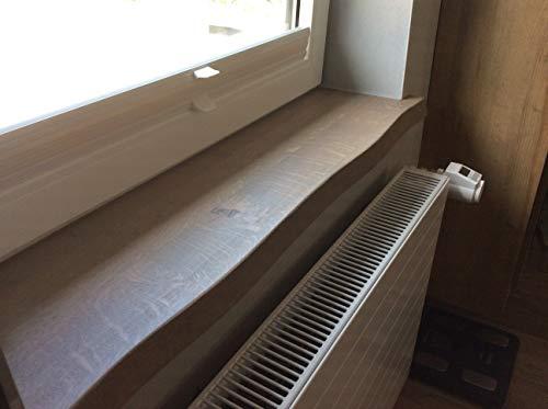 Fensterbank Eiche massiv mit glatter Baumkante, Asteiche makant, Massivholz