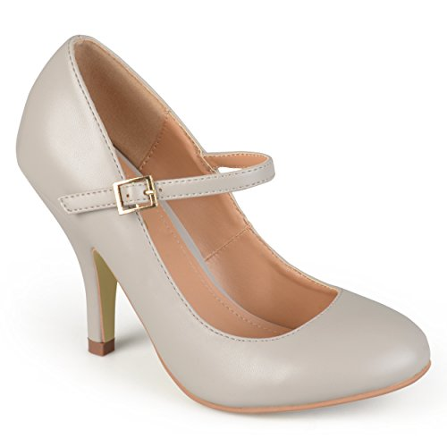 Price comparison product image Brinley Co. Womens Mary Jane Matte Finish Pumps Grey,  9 Regular US