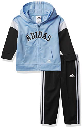 adidas Baby Boys' Li'l Sport Hooded Tricot Jacket & Jogger Clothing Set, Varsity Clear Sky, 9 Months