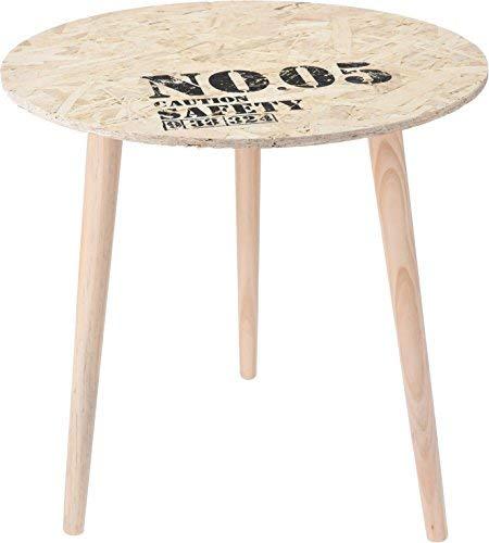 Mesa auxiliar de diseño – Mesa redonda de madera (opcional) – Mesa de centro de mesa de noche, madera, marrón, 50 cm