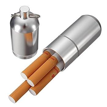 Mini Aluminum Cigarette Case Holder with Key Ring - Yhouse Waterproof Round Cigarettes Pocket Box