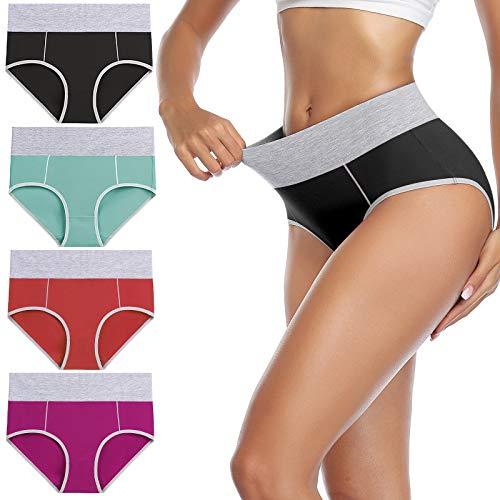 wirarpa Bragas Mujer Slip Cintura Alta Algodón Braguitas 4 Pack Tamaño XL