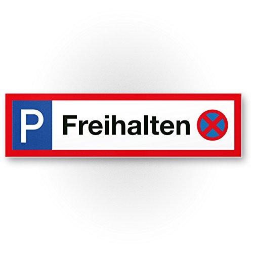 Parkplatz freihalten Kunststoff Schild (40 x 10cm), Hinweisschild aus Kunststoff Privatparkplatz - Verbotsschild klein/leicht, Parken verboten Kunststoff Schild - Parkplatz freihalten