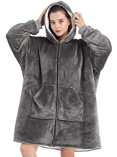 Manta con capucha de doble cara, de gran tamaño sherpa gigante con capucha y bolsillo frontal para invierno, cálida manta para hombres, mujeres y niñas