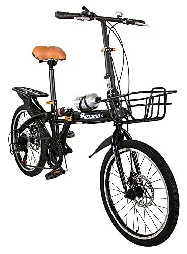 KEN ROD Bicicletas Plegables | Bicicleta Plegable Adulto | Bici 20 Pulgadas Adulto | Bici Plegable | Bici Plegable Urbana | Color: Negro