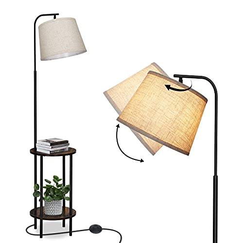 DEWENWILS 62 inch Floor Lamp with Table Attached, Nightstand with Built-in Lamp, Standing Light with Shelves, Adjustable Reading Lamp for Bedroom, Living Room, Guest Room, Office, Kids Room