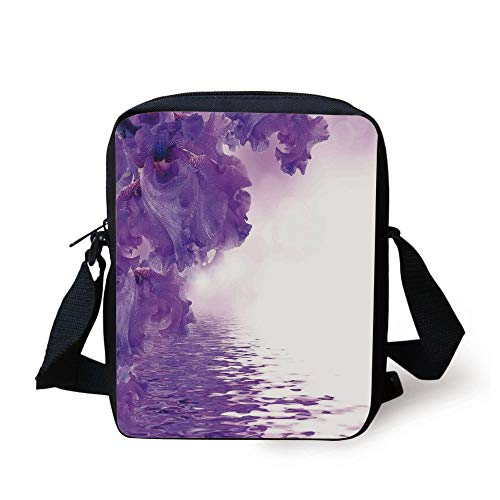 Flower House Decor,Iris Flowers Petals against the Water River Mystical Magical Fairy Nature Image,Violet White Print Kids Crossbody Messenger Bag Purse