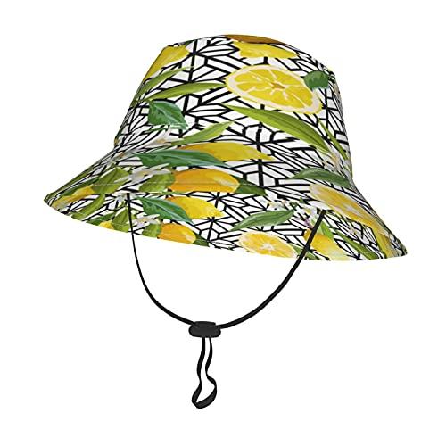 GAHAHA Sombrero de sol para bebés y niñas, frutas de limón para niños con correa ajustable para la barbilla, gorra de protección solar para el verano, al aire libre, escuela, pescador
