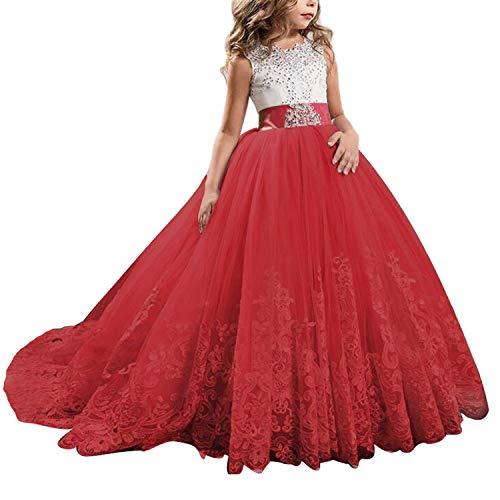 NNJXD Mädchen Spitze Tüll Gestickte Prinzessin Prom Ballkleid Formale Partei Lang Schwanz Kleider Größe (140) 8-9 Jahre 406 Rot-A