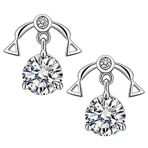 Demarkt Oorbellen, weegschaal voor dames, zirkonia, gouden oorbellen, 12 constellatie, elegante royale oorbellen, afmetingen 10 mm