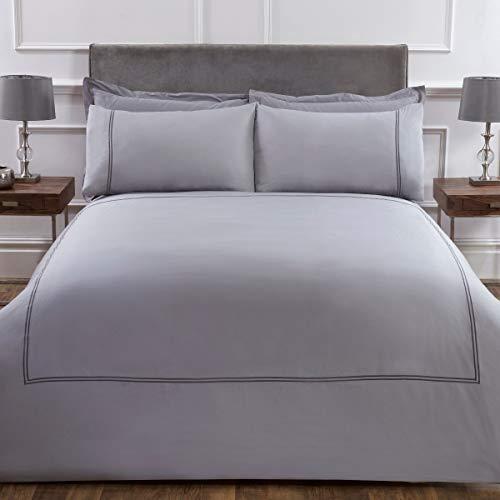 Sleepdown Juego edredón Suave de Lujo con Fundas de Almohada, 100% algodón satén, 300 Hilos, tamaño King (220 x 230 cm), Gris, Matrimonio