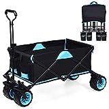 COSTWAY Carrito de Mano Plegable con Bolsa Extraíble y Cremallera Carro Transporte con Ruedas para Playa Compra Camping Pesca Jardín