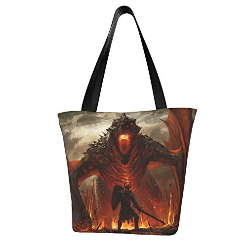 Warrior Knight Dragon - Bolsas de transporte para mujer, gran capacidad, mensajero, mochilas portátiles, correas fuertes y duraderas