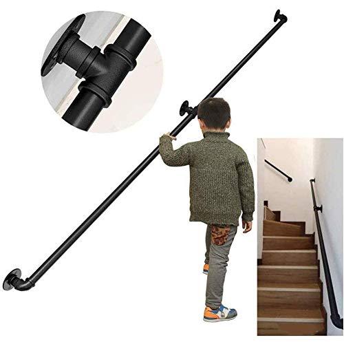 BAIHAO Treppengeländer für Treppen Industrie Rohrarmlehne schwarz Metall Schmiedeeisen Handläufe mit Wandhalterungen Außentreppen Geländer