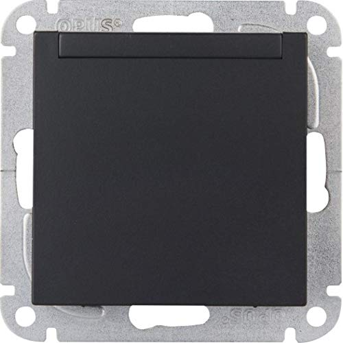 OPUS® 55 Schutzkontakt-Steckdose mit Feder-Klappdeckel ohne Berührungsschutz Farbe anthrazit-seidenglanz