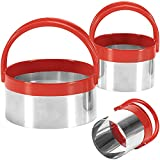COOKIEQUE Professional Biscuit Cutter Set (3 Pieces), Round Cookie Cutters with Handle, Unique Design Baking Tool with Protective Red PVC
