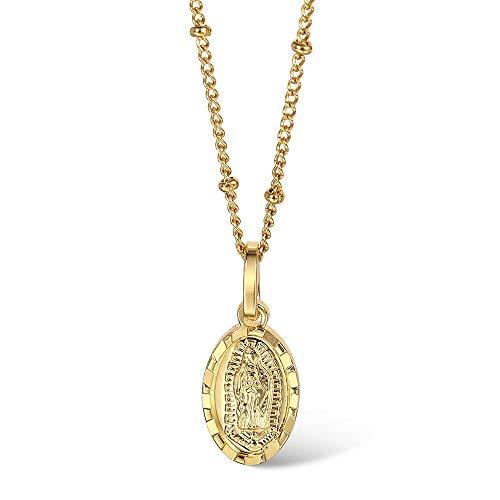 Collar Colgante Ovalado para Mujeres 1,5 Mm De Oro Color Virgen Mary Encanto Gargantilla Satlite Eslabones Cadena De Regalos De Joyera