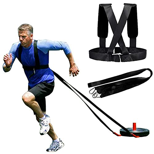 HORKEY Weight Sled Workout Tire Speed Sled For Training Sled Harness Resistance and Assistance Trainer Physical Training Resistance Rope Kit Improving Speed, Stamina and Strength for Men and Women