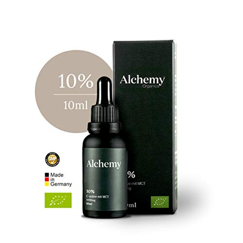 Alchemy Organics 10% C-Active Hemp Seed Oil 10ml 100% Organic Certified 100% Made in Germany Highest Organic Availability thanks to MCT Carrier Oil