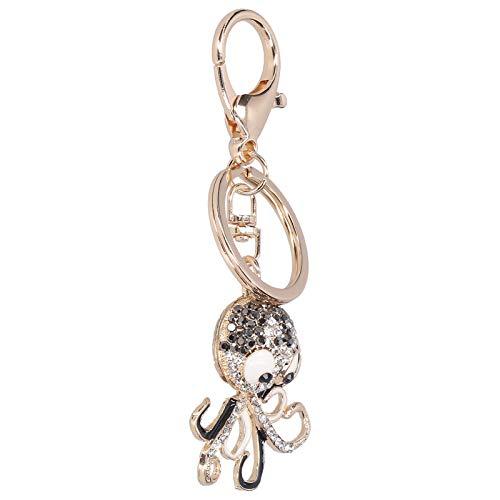Llavero, aleación de zinc, 2 piezas, diamantes de imitación, bolso, decoración, colgante de llave, para vacaciones de miembros de la familia(Black+black)