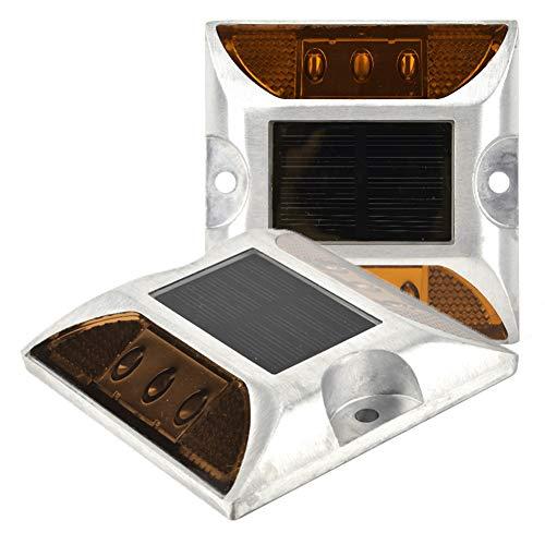 6 LED Solar Power Bodenmarkierungsleuchten wasserdichte Outdoor-Auffahrt Stud Straßenlaterne LED Bodenmarkierungsleuchten Bodenlaterne Stud Straßenlaterne Auffahrt Lichter