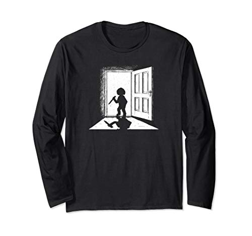 Scary Puppe Silhouette In Door way Halloween Horror Langarmshirt