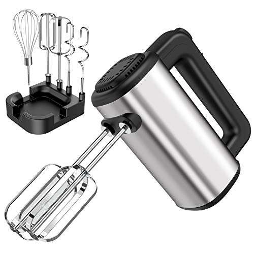 Hand Mixer Electric,Senbowe Upgrade 250W 5-speed Electric Handheld Mixers with Storage Case, Easy Eject Button and 5 Stainless Steel Attachments (2 Beaters, 2 Dough Hooks and 1 Whisk)