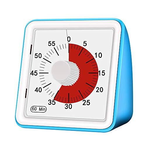 PopHMN Visueller Analog-Timer, 60-minütiges Countdown-zeitmanagement-Tool Mit Einstellbarem Alarmton Für Kinder Und Erwachsene (Blau)