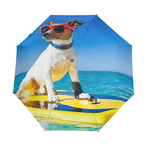 Regenschirm für Strand, Surfen, niedlicher Hund, kompakt, UV-Schutz, wasserdicht, automatisches Öffnen