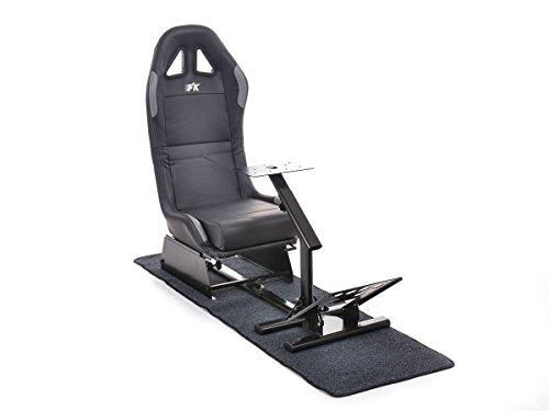 FK-Automotive FK Gamesitz Spielsitz Rennsimulator eGaming Seats Suzuka schwarz/silber mit Teppich FKRSE17933