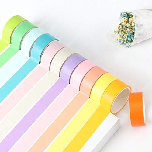 Feelairy Washi Tape 15mm Set, 12 Rolls Regenbogen Klebeband Dekobänder Aufkleber für Kinder Bunte Klebebänder Papier Masking Tape für Geschenke Verpackung Scrapbooking DIY Handwerk